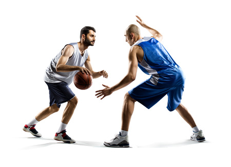 Isolated on white  two basketball players in action