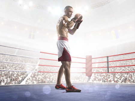 boxing ring: Professional boxer is training on the grand arena in lights