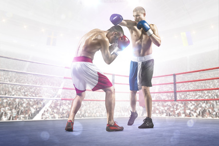 match box: Two professionl boxers are fighting on the grand arena
