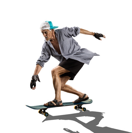 funy: Isolated old man skater on the white background