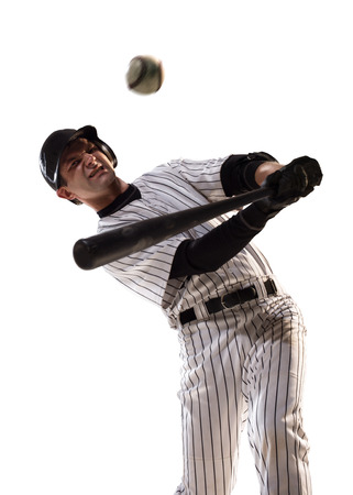 isolated on white professional baseball player in action Stock Photo