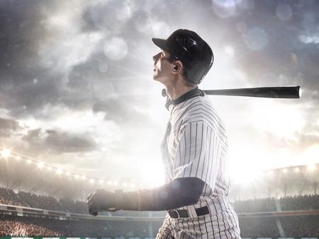 Joueur de baseball professionnel en action sur Grand Arena Banque d'images - 35618396