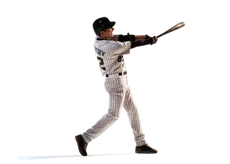 isolated on white professional baseball player in action 스톡 콘텐츠