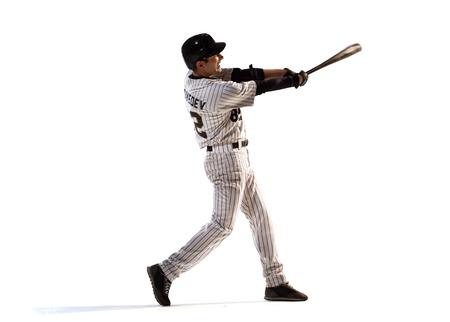 Isolé sur blanc joueur de baseball professionnel en action Banque d'images - 35692053