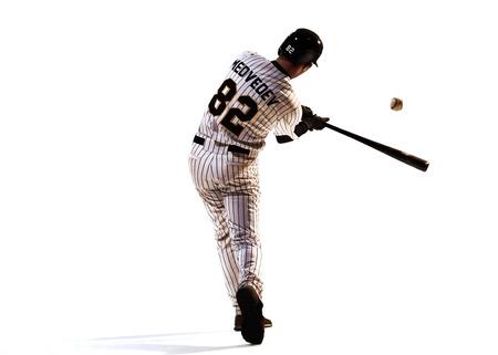 행동에 흰색 프로 야구 선수에 고립
