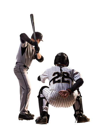 Isolated on white professional baseball players in action