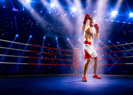 Professional boxer is standing on the grand arena