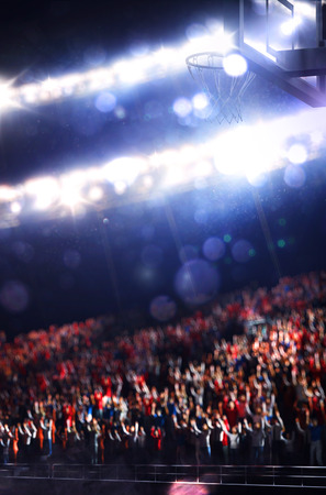 terrain de basket: Grande salle de basket de spectateurs sur fond