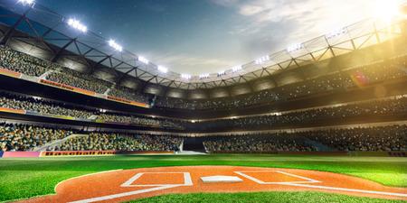 champ vert: Baseball professionnel Grand Arena au soleil
