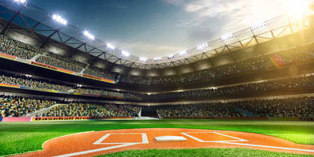 crowd: Professional baseball grand arena in the sunlight