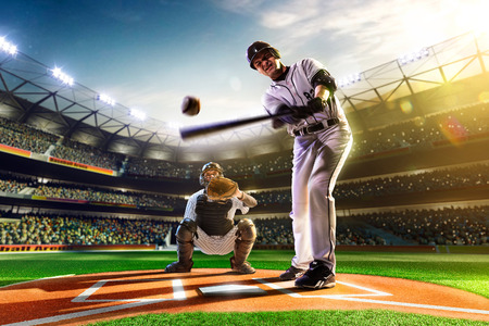 Professionele honkbal spelers op de grote arena