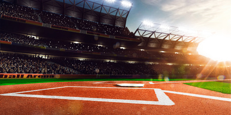 campo de beisbol: El béisbol profesional Grand Arena en la luz del sol Foto de archivo
