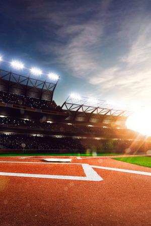 Professioneel honkbal Grand Arena in het zonlicht Stockfoto - 36880499