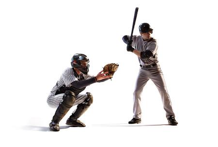 pelota de beisbol: Aislados en blanco jugadores profesionales de b�isbol en acci�n