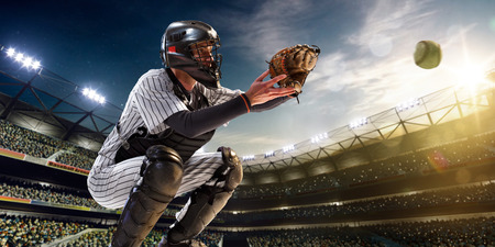 bat and ball: Professional baseball player in action on grand arena