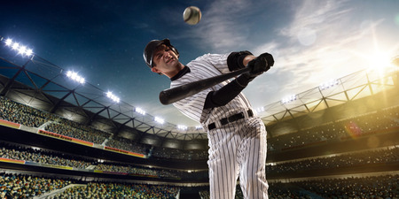 sports uniform: Professional baseball player in action on grand arena