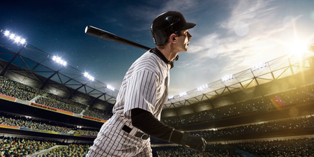 adult only: Professional baseball player in action on grand arena