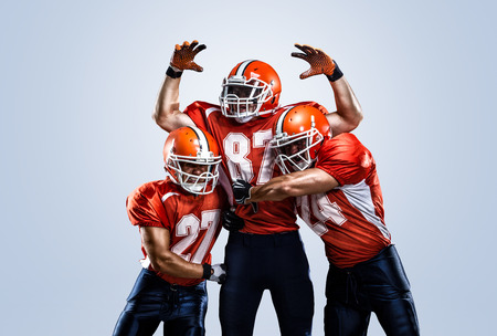 American football player in action white on isolated Archivio Fotografico