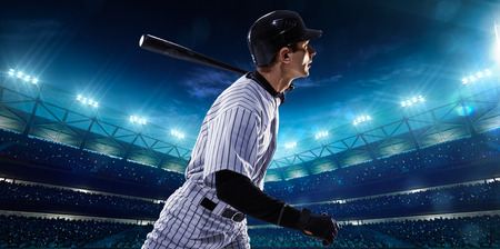 hitter: Professional baseball players on the grand arena in night
