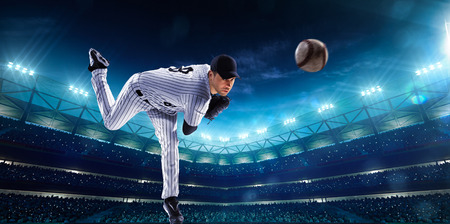 baseball glove: Professional baseball players on the grand arena in night