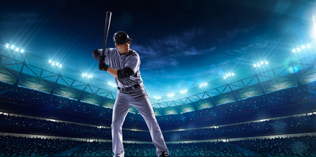 green field: Professional baseball players on the grand arena in night