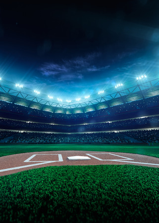 green field: Professional baseball grand arena in the night Stock Photo