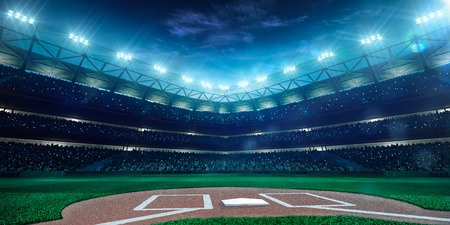 Professional baseball grand arena in the night Imagens
