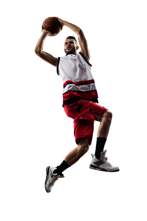 basketball player in action Isolated on white Standard-Bild