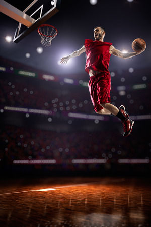 fitness goal: Basketball player in action Stock Photo