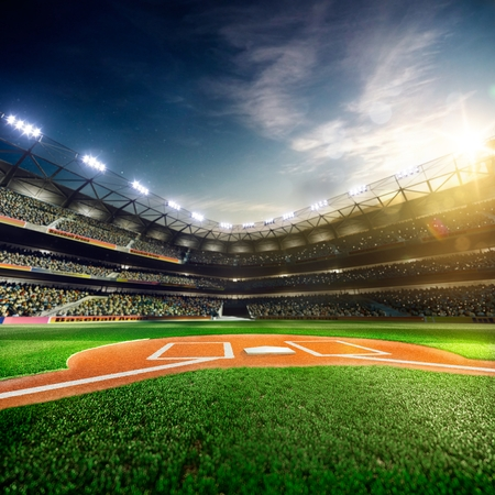 to field: Professional baseball grand arena in the sunlight