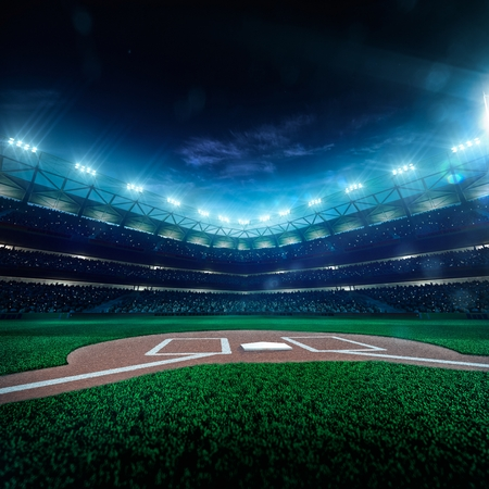 to field: Professional baseball grand arena in the night Stock Photo