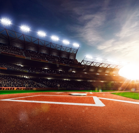 green field: Professional baseball grand arena in the sunlight