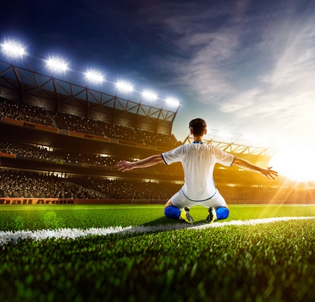 win win: Soccer player in action on night stadium panorama background Stock Photo