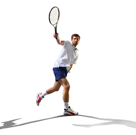serve one person: isolated on the white young man is playing tennis