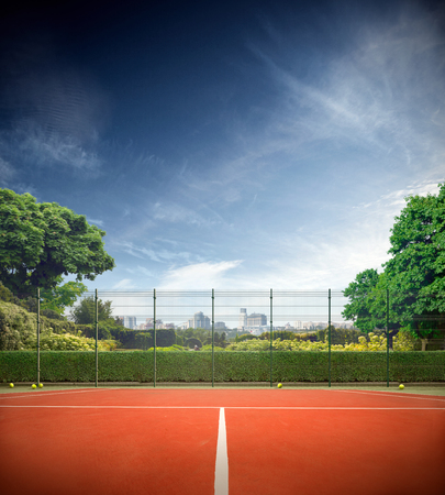 tennis net: Tennis court in the sunny day horizont Stock Photo