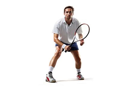 白で分離された若い男が一緒にテニス