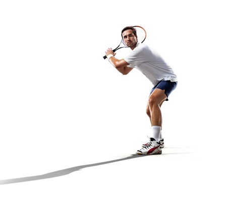 competitive sport: isolated on the white young man is playing tennis