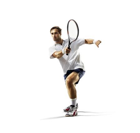 Aislado en el blanco joven es jugar al tenis Foto de archivo - 44507401