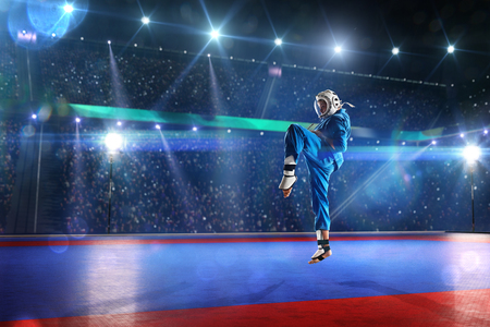 fight arena: Kudo fighter is working out on the grand arena Blue