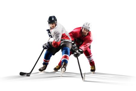 얼음에 스케이팅 전문 하키 선수입니다. 흰색에 절연