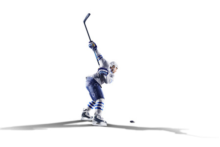 Professional hockey player skating on ice. Isolated on the white