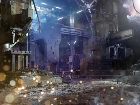 wojenne: Ciemne tło zniszczone fabryki wojenne z ogniem Zdjęcie Seryjne