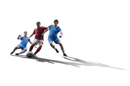 pies masculinos: jugadores de fútbol de fútbol en la acción aislada en el fondo blanco