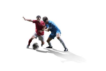 jugadores de futbol: jugadores de fútbol de fútbol en la acción aislada en el fondo blanco