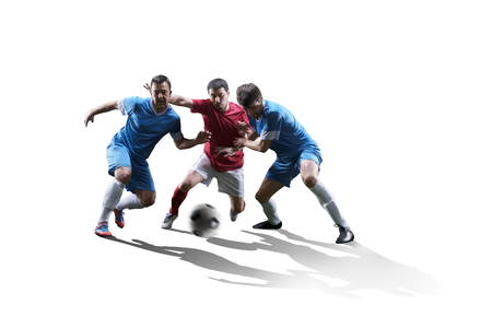 football soccer players in action isolated on white background 스톡 콘텐츠