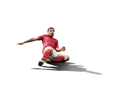 jugadores de futbol: Fútbol jugador de fútbol en la acción aislada en el fondo blanco