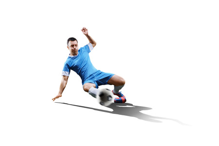 ball isolated: football soccer player in action isolated on white background Stock Photo