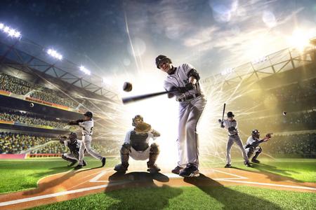 그랜드 경기장에서 프로 야구 선수들의 콜라주