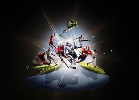 Multi sports collage from soccer basketball hockey footbal baseball dirt bike