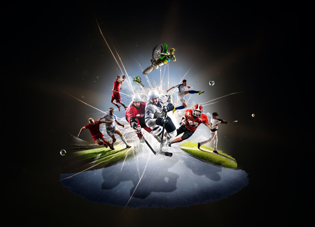 symbol sport: Multi Sport Collage aus Fußball Basketball Hockey Fus Baseball Dirt Bike